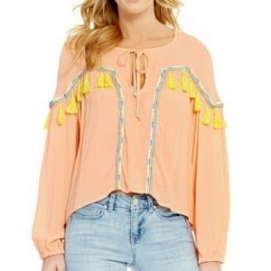 Gianni Bini peach tassel top